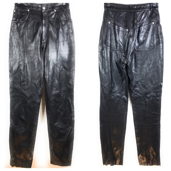 The Limited Pants - The Limited Vintage High Waisted Leather Pants A13